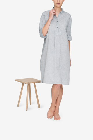 front view classic long sleep shirt grey smoke linen cotton blend by the Sleep Shirt
