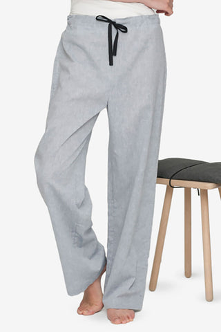 front view lounge pant grey smoke linen cotton blend by the Sleep Shirt
