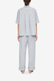 back view lounge pant grey smoke linen cotton blend by the Sleep Shirt