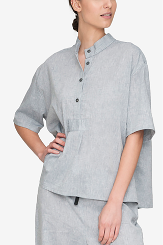 Short Sleeve Cropped Sleep Shirt Smoke Linen Blend