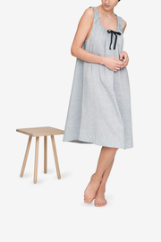 front view sleeveless adjustable neckline nightie nightgown grey smoke linen cotton blend by the Sleep Shirt