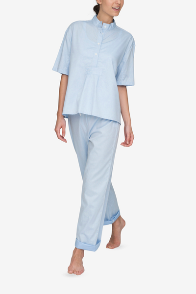 front view t-shirt top with lounge pants pajama set in soft blue stripe cotton by the Sleep Shirt