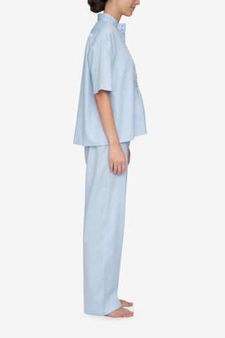 Set - Short Sleeve Cropped Sleep Shirt and Lounge Pant Soft Blue Stripe