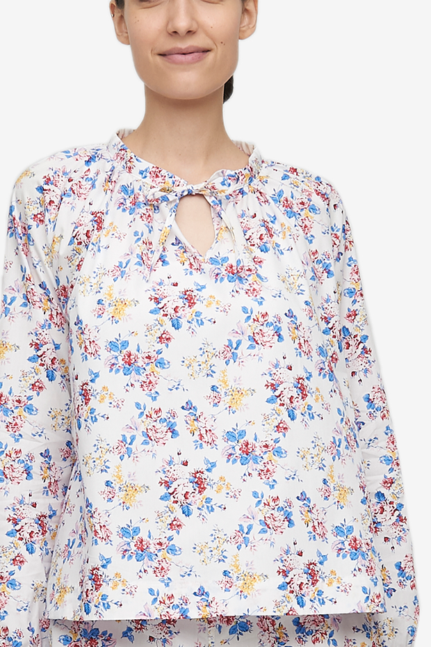 Gathered Neck Top Summer Floral