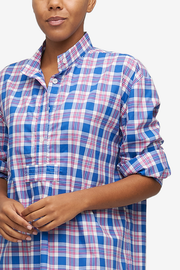 Long Sleep Shirt Summer Plaid