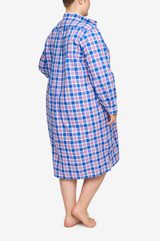 Long Sleep Shirt Summer Plaid PLUS