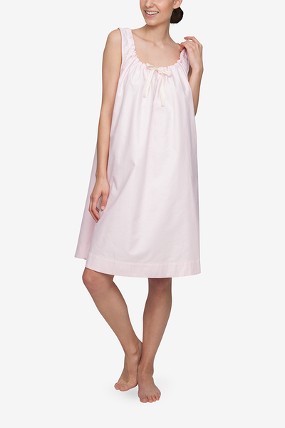 front view sleeveless adjustable neckline nightie nightgown pink oxford stripe cotton by the Sleep Shirt