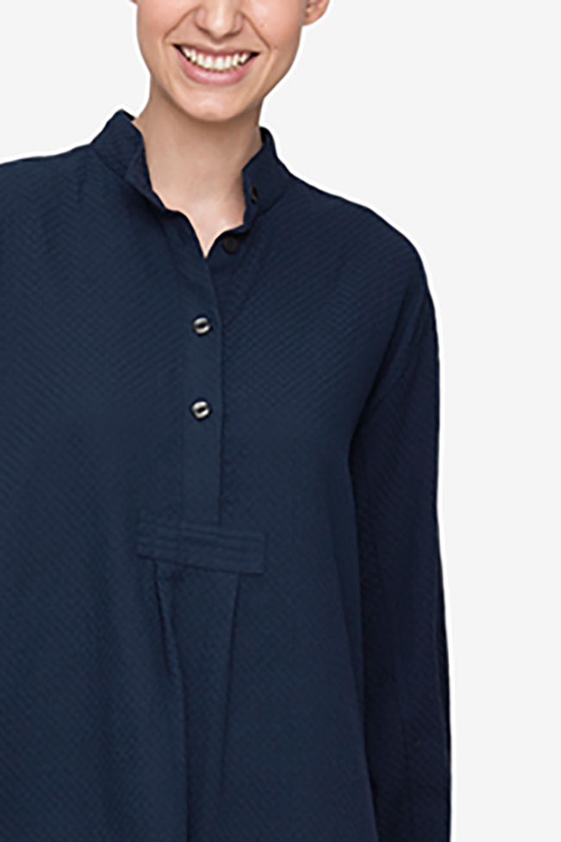 front cropped view classic short sleep shirt navy boucle Japanese cotton by the Sleep Shirt