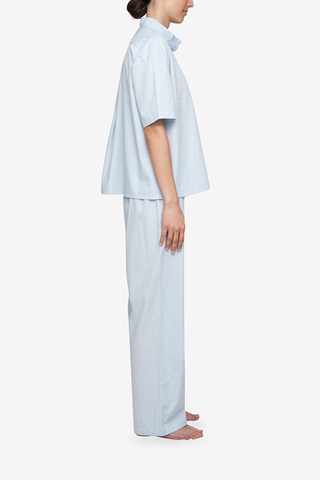 Set - Short Sleeve Cropped Sleep Shirt and Lounge Pant Blue Cotton Stripe