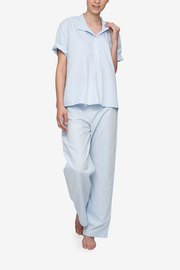 front view classic lounge pants pajama set in blue cotton stripe by the Sleep Shirt