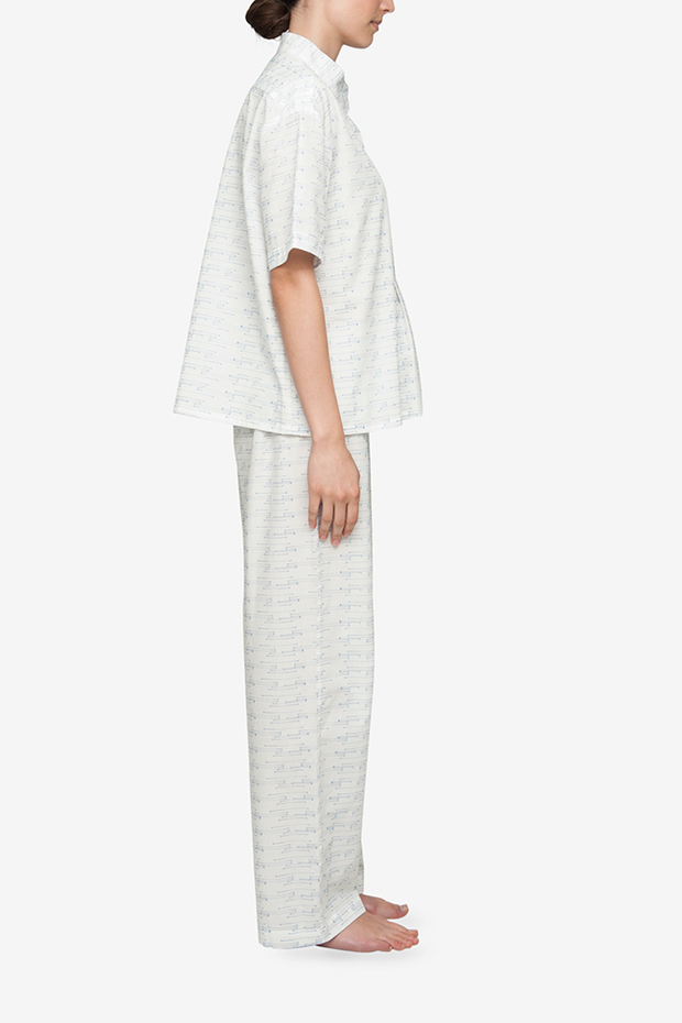 Set - Short Sleeve Cropped Sleep Shirt and Lounge Pant Spock Cotton