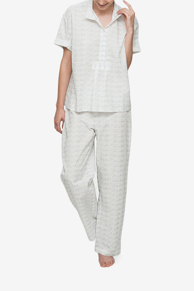 front view classic lounge pants in white textured spock cotton pajama set by the Sleep Shirt