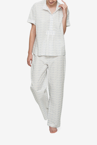 front view tshirt lounge pant pajama set white textured spock cotton by the Sleep Shirt