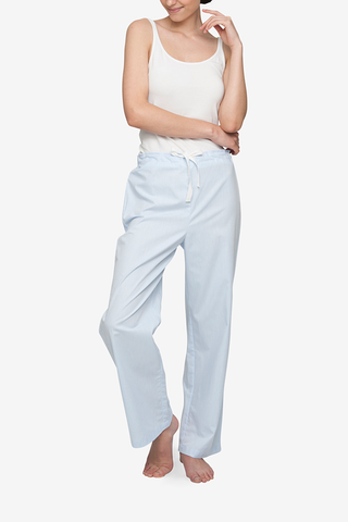 front view classic lounge pants in blue cotton stripe by the Sleep Shirt