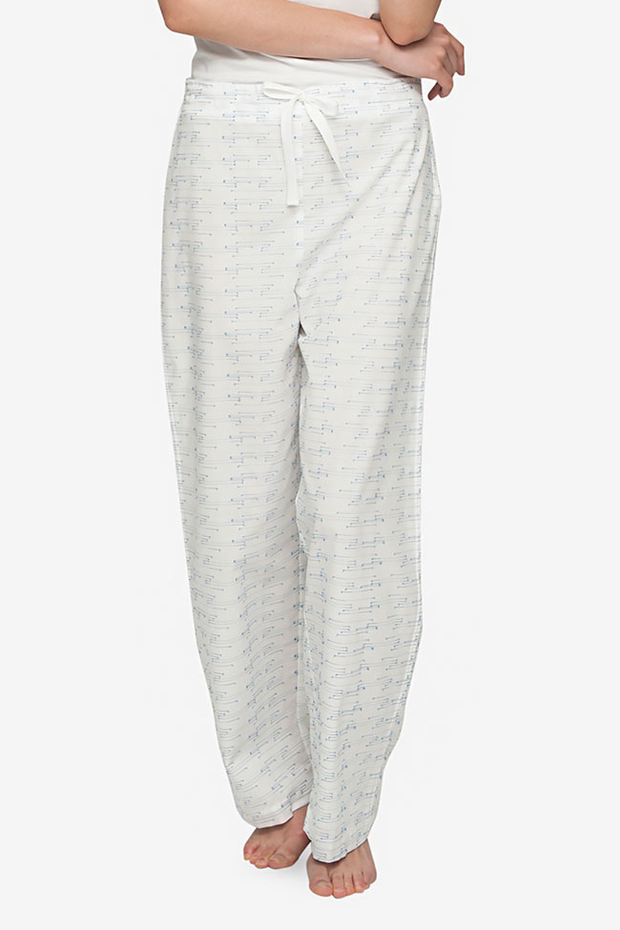 front view classic lounge pants in white textured spock cotton by the Sleep Shirt