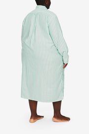 Long Sleep Shirt Green Stripe Twill PLUS