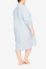 Long Sleep Shirt Capri Blue Linen Blend PLUS