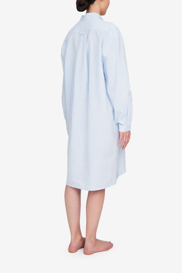 Long Sleep Shirt Capri Blue Linen Blend