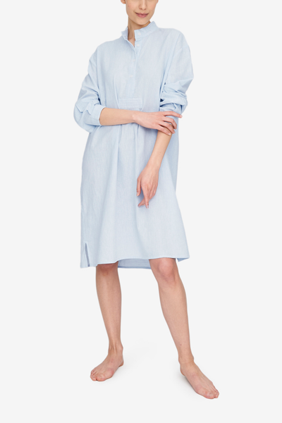 Long Sleep Shirt Capri Blue Linen Blend - EUROPE