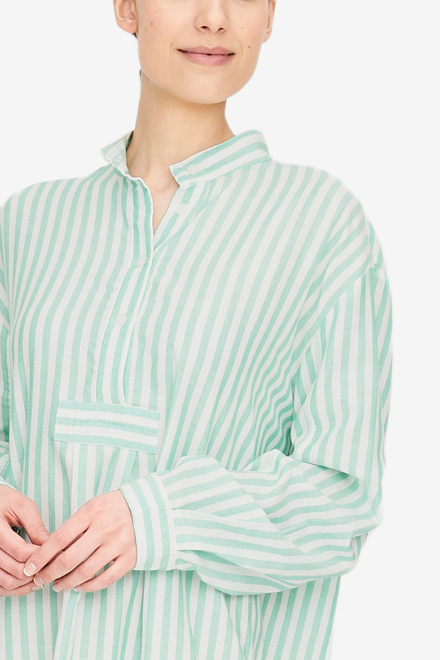 Long Sleep Shirt Green Stripe Twill