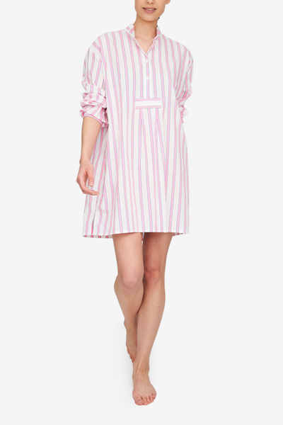 Short Sleep Shirt Fluo Pink Stripe