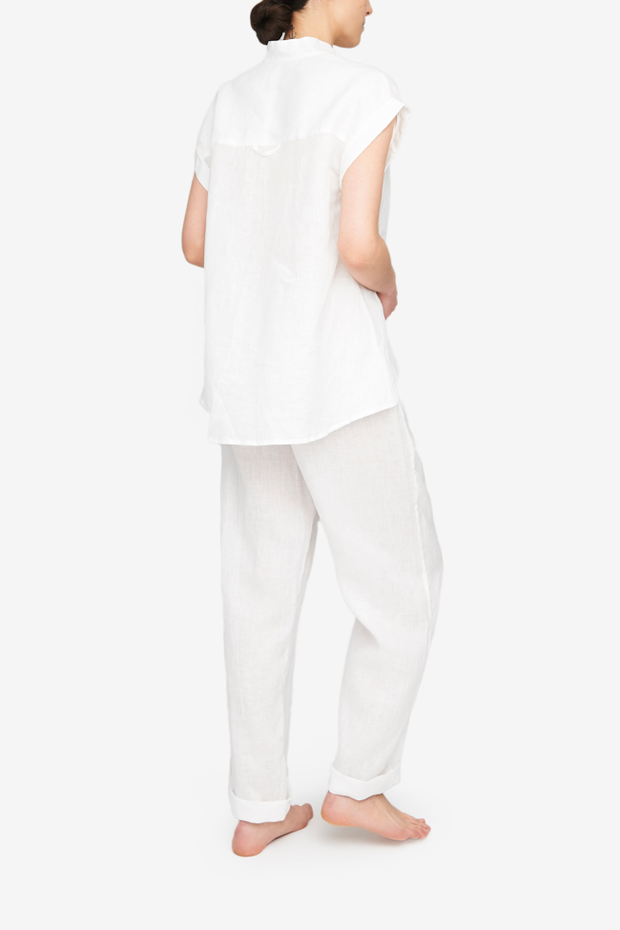 Cuffed Sleeve Shirt White Linen