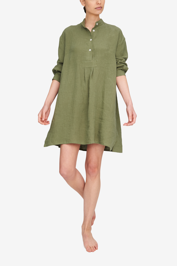 Front view of the Short Sleep Shirt in a deep, sage green. Made from a washed linen so it's a soft, loose linen that hangs beautifully off the body. Length is a few inches above the knee on most bodies, but still offers bum coverage.