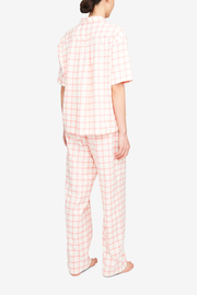 Set - Short Sleeve Cropped Sleep Shirt and Lounge Pant Pink Check Flannel