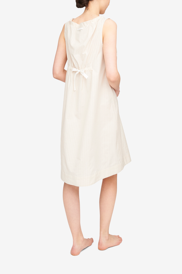 Sleeveless Nightie Cream Silk Blend Stripe
