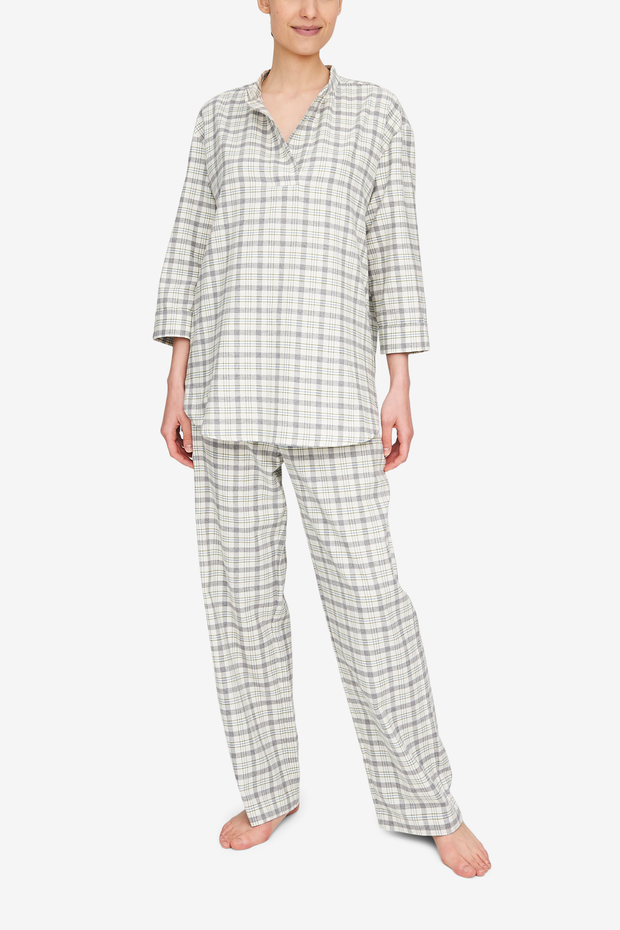 Lounge Pant Grey Plaid Flannel