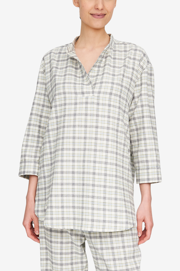 Front view of the Slip On Top by the Sleep Shirt. A cream and great plaid made from a durable and soft cotton flannel.