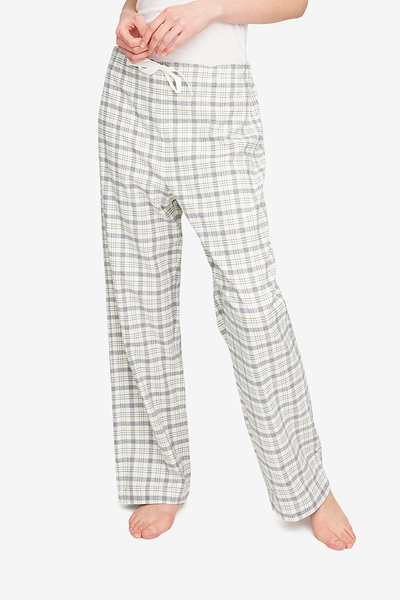 Basic pajama pant style with a drawstring front waist and an elastic back waist to make the best fit possible. Made from a flannel in cream, grey and green.