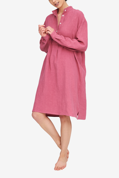 The Long Sleep Shirt in a deep pink colour, the washed effect  makes this linen soft and easy to wear. Embrace the wrinkled texture!