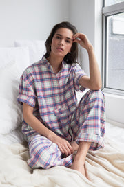 Set - Short Sleeve Cropped Sleep Shirt and Lounge Pant Pink Carnaby Plaid