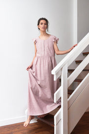 Long Flounce Sleeve Dress Blush Linen