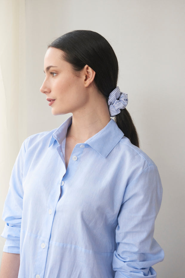 Button Down Sleep Shirt Sky Blue Linen Blend