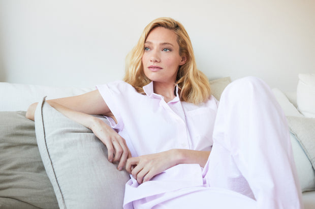 Set - Cuffed Sleeve Shirt and Lounge Pant Pink Seersucker