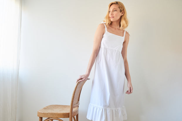 Tie Strap Dress Washed White Poplin