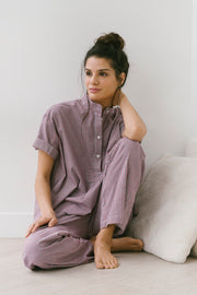Set - Short Sleeve Cropped Sleep Shirt and Lounge Pant Lake Huron Check