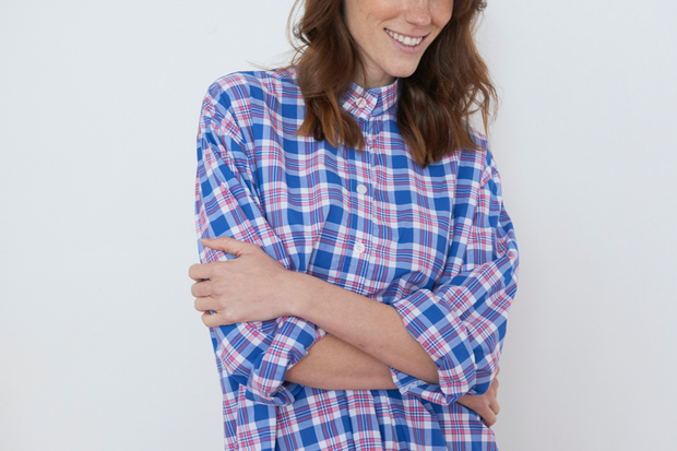 Short Sleep Shirt Summer Plaid