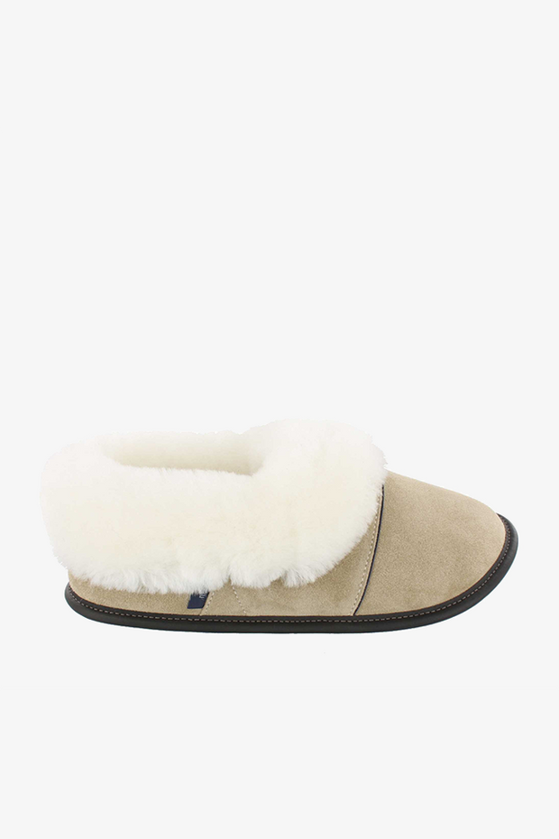 Sheepskin and Suede Slipper Tan