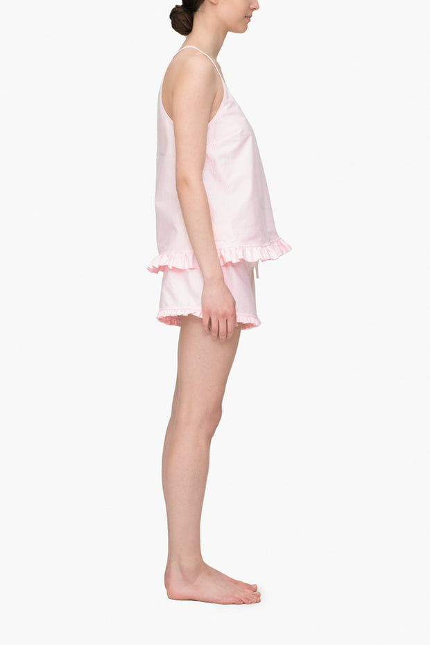 Ruffle Short Pink Oxford Stripe