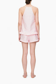 back view pajama shorts with ruffle hem in pink oxford stripe cotton by the Sleep Shirt