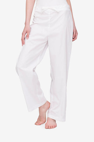 front view white cotton stripe lounge pants by the sleep shirt