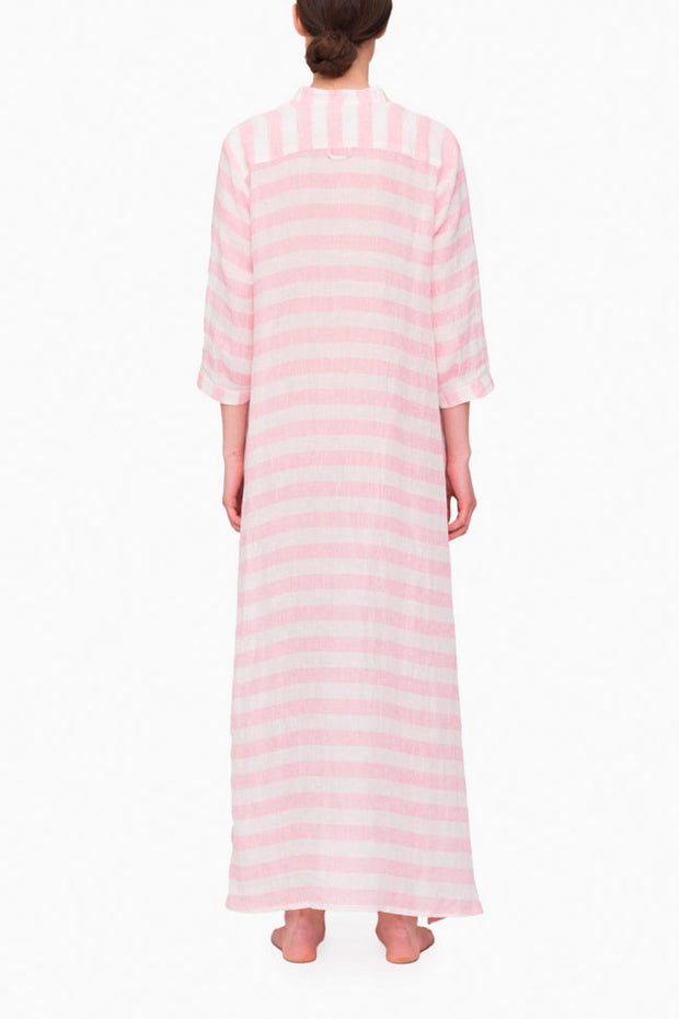back view floor length sleep shirt pink horizontal stripe linen by the Sleep Shirt