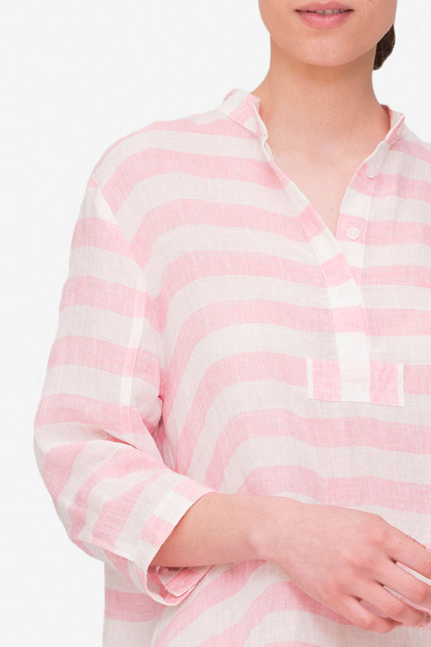 Full Length Sleep Shirt Pink Horizontal Stripe