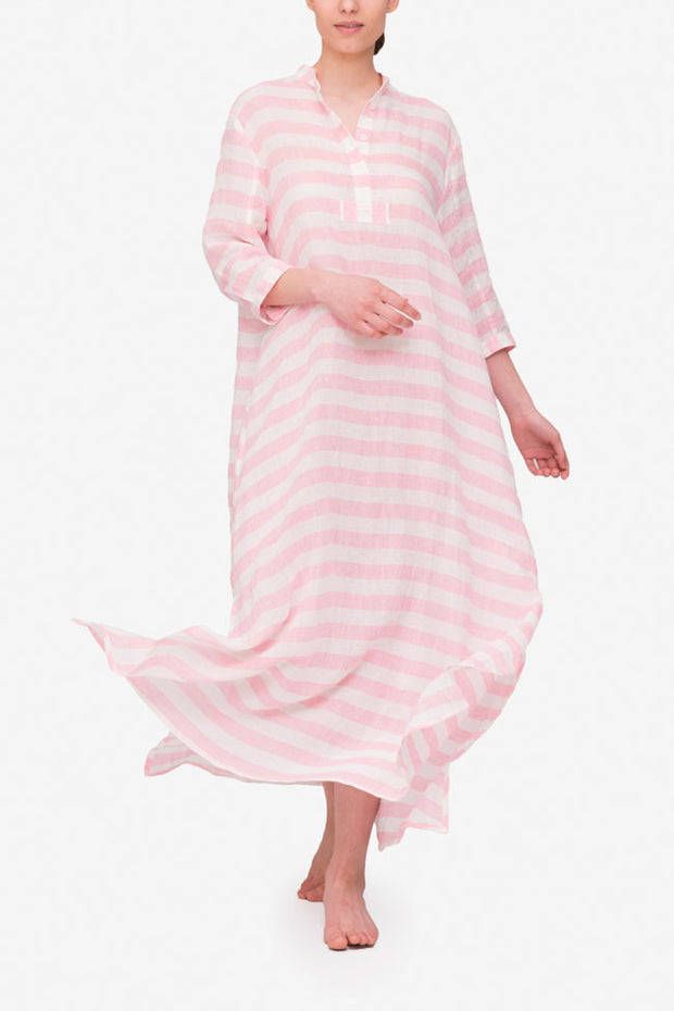 front view floor length sleep shirt pink horizontal stripe linen by the Sleep Shirt