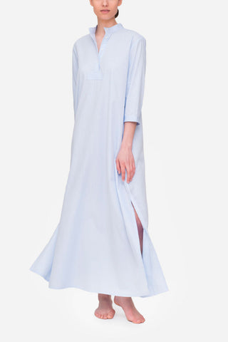 Full Length Sleep Shirt Blue Cotton Stripe