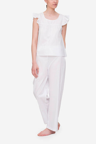 front view flounce top with lounge pant pajama set white cotton by the Sleep Shirt
