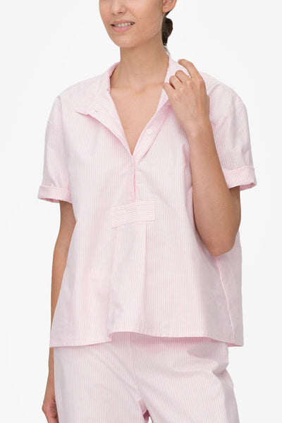 front view tshirt pink oxford stripe cotton by the Sleep Shirt